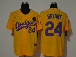 Mens Mlb Los Angeles Dodgers #24 Bryant Gold Purple Number Cool Base Nike Jersey