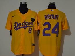 Mens Mlb Los Angeles Dodgers #24&8 Bryant Gold Purple Number Cool Base Nike Jersey