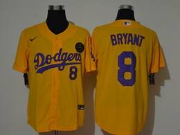 Mens Mlb Los Angeles Dodgers #8 Bryant Gold Purple Number Cool Base Nike Jersey