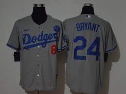 Mens Mlb Los Angeles Dodgers #24&8 Bryant Gray Cool Base Nike Jersey