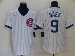 Mens Mlb Chicago Cubs #9 Javier Baez White Stripe 2020 Pullover Cool Base Nike Jersey