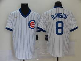 Mens Mlb Chicago Cubs #8 Andre Dawson White Stripe 2020 Pullover Cool Base Nike Jersey