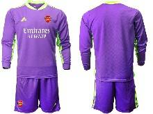 Mens 20-21 Soccer Arsenal Club ( Custom Made ) Purple Goalkeeper Long Sleeve Suit Jersey