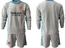 Mens 20-21 Soccer Arsenal Club ( Custom Made ) Gray Goalkeeper Long Sleeve Suit Jersey