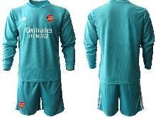 Mens 20-21 Soccer Arsenal Club ( Custom Made ) Blue Goalkeeper Long Sleeve Suit Jersey