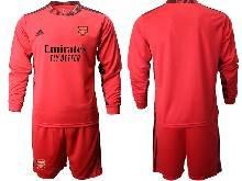 Mens 20-21 Soccer Arsenal Club ( Custom Made ) Red Goalkeeper Long Sleeve Suit Jersey