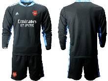 Mens 20-21 Soccer Arsenal Club ( Custom Made ) Black Goalkeeper Long Sleeve Suit Jersey
