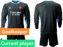 Mens 20-21 Soccer Arsenal Club Current Player Black Goalkeeper Long Sleeve Suit Jersey