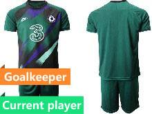 Mens 20-21 Soccer Chelsea Club Current Player Green Goalkeeper Short Sleeve Suit Jersey