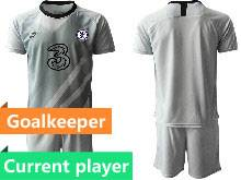 Mens 20-21 Soccer Chelsea Club Current Player Gray Goalkeeper Short Sleeve Suit Jersey
