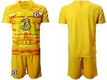 Mens 20-21 Soccer Chelsea Club ( Custom Made ) Yellow Goalkeeper Short Sleeve Suit Jersey