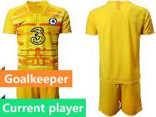 Mens 20-21 Soccer Chelsea Club Current Player Yellow Goalkeeper Short Sleeve Suit Jersey