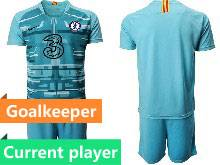 Mens 20-21 Soccer Chelsea Club Current Player Blue Goalkeeper Short Sleeve Suit Jersey