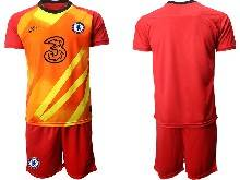 Mens 20-21 Soccer Chelsea Club ( Custom Made ) Red Goalkeeper Short Sleeve Suit Jersey