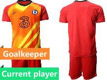 Mens 20-21 Soccer Chelsea Club Current Player Red Goalkeeper Short Sleeve Suit Jersey