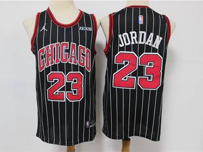 Mens Nba Chicago Bulls #23 Michael Jordan Black Stripe Jordan Brand Swingman Jersey