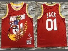 Mens Nba Houston Rockets #01 Jack Red Mitchell&ness Swingman Hardwood Classics Jointly Signed Jersey