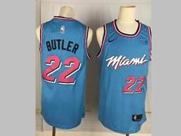 Mens Nba Miami Heat #22 Jimmy Butler Blue 2020 City Edition Nike Swingman Jersey