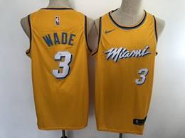 Mens Nba Miami Heat #3 Dwyane Wade Yellow 2020 City Edition Nike Swingman Jersey