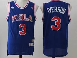 Mens Nba Philadelphia 76ers #3 Allen Iverson Blue Mitchell&ness Hardwood Classics Adidas Jersey