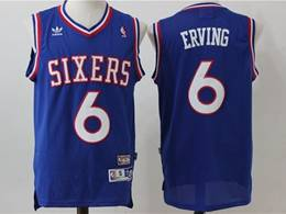 Mens Nba Philadelphia 76ers #6 Julius Erving Blue Mitchell&ness Hardwood Classics Adidas Jersey