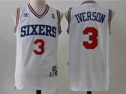 Mens Nba Philadelphia 76ers #3 Allen Iverson White Mitchell&ness Hardwood Classics Adidas Jersey