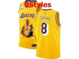 Mens Nba Los Angeles Lakers #8 Kobe Bryant Yellow Portrait Swingman Nike Jersey 9 Styles