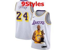 Mens Nba Los Angeles Lakers #24 Kobe Bryant White Portrait Swingman Nike Jersey 9 Styles