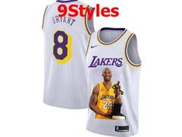 Mens Nba Los Angeles Lakers #8 Kobe Bryant White Portrait Swingman Nike Jersey 9 Styles