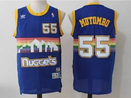 Mens Nba Denver Nuggets #55 Dikembe Mutombo Blue Rainbow Mitchell&ness Hardwood Classics Swingman Jersey