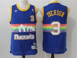 Mens Nba Denver Nuggets #3 Allen Iverson Blue Rainbow Mitchell&ness Hardwood Classics Swingman Jersey