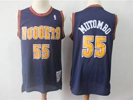 Mens Nba Denver Nuggets #55 Dikembe Mutombo Dark Blue 1993-94 Mitchell&ness Hardwood Classics Jersey