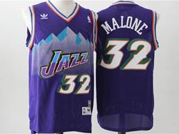 Mens Nba Utah Jazz #32 Karl Malone Purple V Neck Snowberg Hardwood Classics Swingman Jersey
