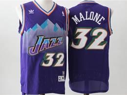Mens Nba Utah Jazz #32 Karl Malone Purple V Neck Snowberg Hardwood Classics Swingman Jersey