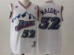 Mens Nba Utah Jazz #32 Karl Malone White V Neck Snowberg Hardwood Classics Swingman Jersey