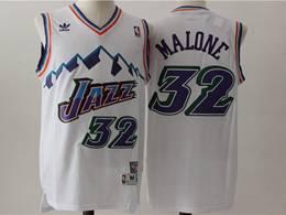 Mens Nba Utah Jazz #32 Karl Malone White V Neck Snowberg Hardwood Classics Swingman Jersey