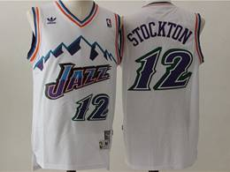 Mens Nba Utah Jazz #12 John Stockton White V Neck Snowberg Hardwood Classics Swingman Jersey