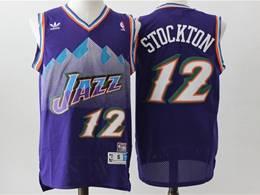Mens Nba Utah Jazz #12 John Stockton Purple V Neck Snowberg Hardwood Classics Swingman Jersey