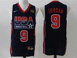 Mens Nba Usa #9 Jordan Blue V Neck Nike Jersey