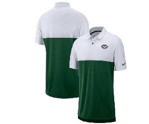 Mens Nfl New York Jets Green White Nike Sideline Early Season Performance Polo T Shirt