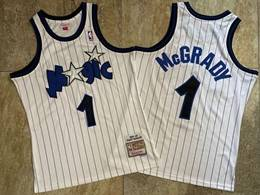 Mens Nba Orlando Magic #1 Tracy Mcgrady White Stripe 2003-04 Mitchell&ness Hardwood Classics Swingman Jersey