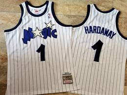 Mens Nba Orlando Magic #1 Anfernee Hardaway White Stripe 1993-94 Mitchell&ness Hardwood Classics Swingman Jersey