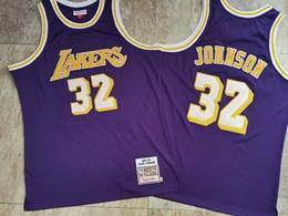 Mens Nba Los Angeles Lakers #32 Magic Johnson Purple 1984-85 Mitchell&ness Hardwood Classics Swingman Jersey