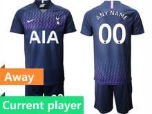 Mens 19-20 Soccer Tottenham Hotspur Club Current Player Blue Away Short Sleeve Suit Jersey