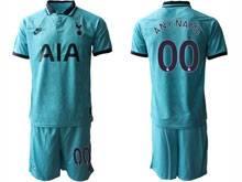 Mens 19-20 Soccer Tottenham Hotspur Club ( Custom Made ) Blue Second Away Short Sleeve Suit Jersey