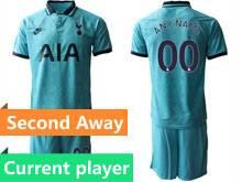 Mens 19-20 Soccer Tottenham Hotspur Club Current Player Blue Second Away Short Sleeve Suit Jersey