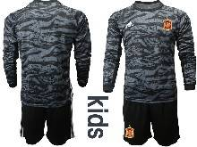 Kids Soccer Spain National Team ( Custom Made ) Black Eurocup 2021 Goalkeeper Long Sleeve Suit Jersey