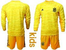 Kids Soccer Spain National Team ( Custom Made ) Yellow Eurocup 2021 Goalkeeper Long Sleeve Suit Jersey