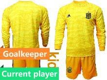 Kids Soccer Spain National Team Current Player Black Eurocup 2021 Goalkeeper Long Sleeve Suit Jersey