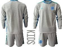 Kids Soccer Spain National Team ( Custom Made ) Gray Eurocup 2021 Goalkeeper Long Sleeve Suit Jersey